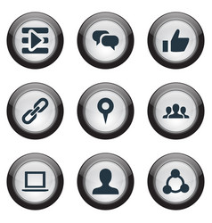 set of simple social icons elements notebook chain vector image