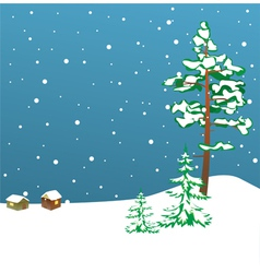 Winter card with firs vector