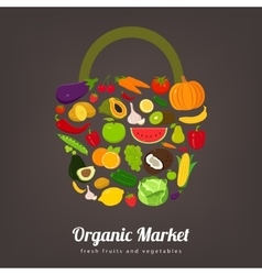 Basket with fruits and vegetables icons vector image