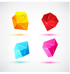 set of minimal geometric multicolor low poly vector image vector image