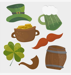 set of st patricks day icons isolated on white vector image vector image