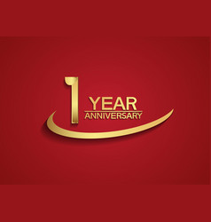 1 year anniversary logo style with swoosh golden vector