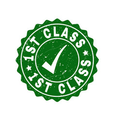 1st class scratched stamp with tick vector image