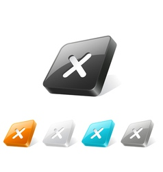 3d web button with cross mark icon vector image