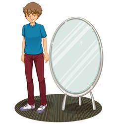 A handsome boy beside a mirror vector