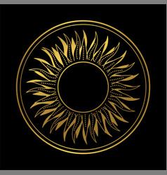 Abstract boho hand drawn golden sun vector
