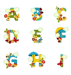 alphabet rainbow from A to I vector image