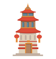 asian architecture historic temple or tower with vector image