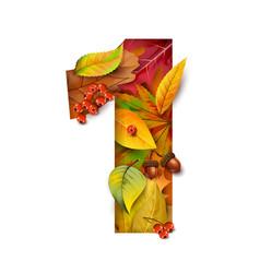 autumn stylized alphabet with foliage digit1 vector image