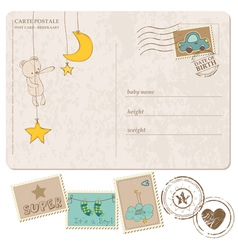 Baboy arrival postcard with set stamps vector