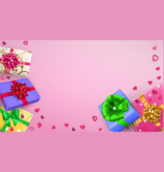 background with multicolored gift boxes vector image