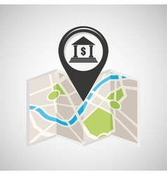 Bank buiding map pin pointer design vector