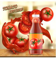 Banner with bottle of ketchup and tomatoes vector