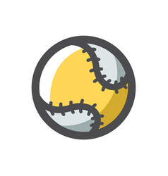 baseball ball with lacing cartoon vector image