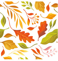 beautiful autumn leaves seamless pattern vector image