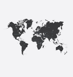 black and white political map of the world vector image