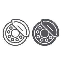 brake pads line and glyph icon auto and part vector image
