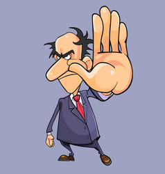 cartoon angry man in a suit with a tie getting vector image