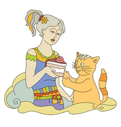 Cat and cake vector