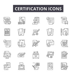certification line icons for web and mobile design vector image