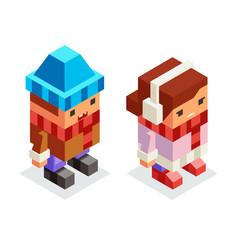 children winter clothes isometric boy girl kids vector image