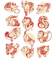 Chinese papercut zodiac icons vector