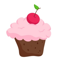 Chocolate cupcake with cherry isolated on white vector image