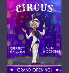 Circus flyer with performer magician show vector