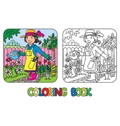 Coloring book of funny woman gardener vector image