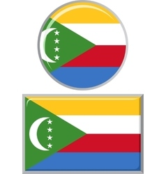 Comoros round and square icon flag vector