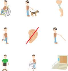 Cripple icons set cartoon style vector image