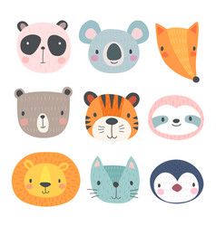 cute animals hand drawn characters vector image