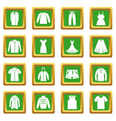 Different clothes icons set green vector