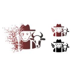 Dolor shredded pixel halftone farmer icon vector