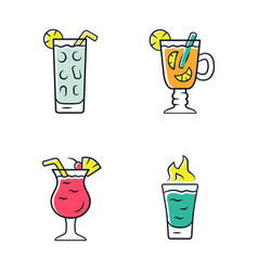 Drinks color icons set cocktail in highball glass vector