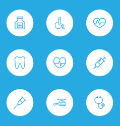 drug icons line style set with pulse heartbeat vector image