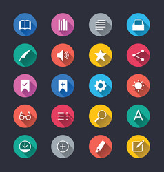 E-book reader simple color icons vector