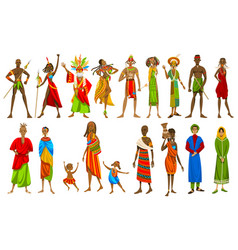 Ethnic people african tribes in traditional vector