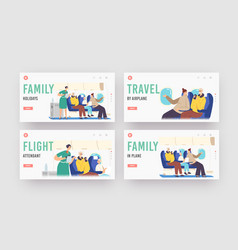 family holidays landing page template set flight vector image