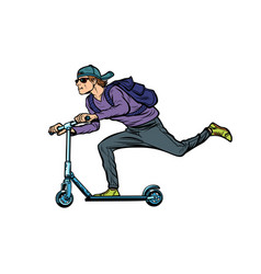 fashionable young man on a scooter action sports vector image