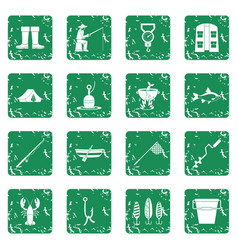 fishing tools icons set grunge vector image