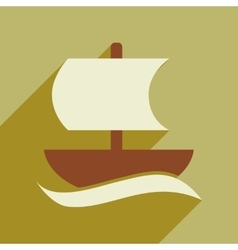 Flat web icon with long shadow sailing ship vector image