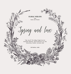 Floral wreath with spring flowers vector