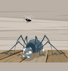 Fly and a spider vector