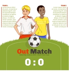 Flyer with two young footballers with copy-space vector
