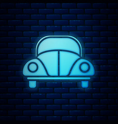Glowing neon car volkswagen beetle icon isolated vector