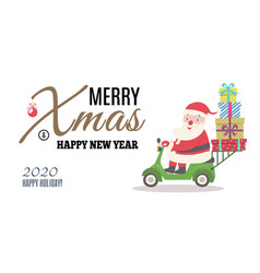 greeting card with santa ridding on scooter and vector image