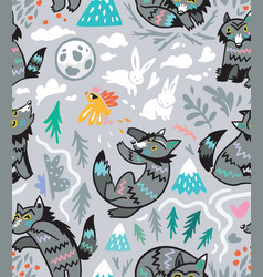 Grey wolves seamless pattern vector