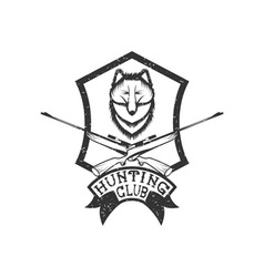 grunge hunting club crest with carbines and fox vector image