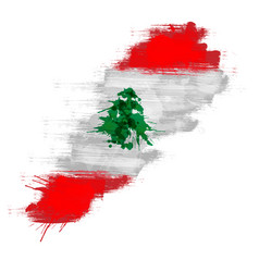 grunge map lebanon with lebanese flag vector image